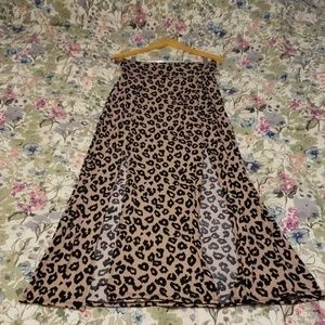 Leopard Print Maxi Skirt with Slits